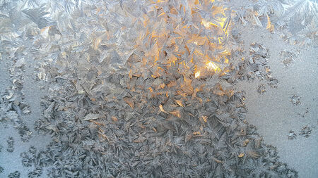 crystallization: Texture of natural ice pattern on winter glass