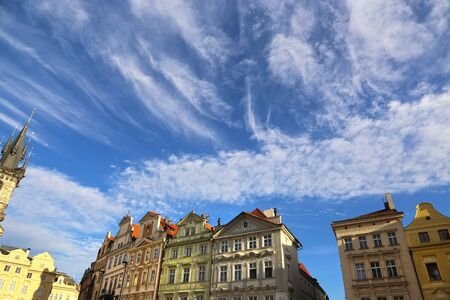 row of houses: Row houses on blue sky background in Prague Stare mesto Czech Republic Stock Photo