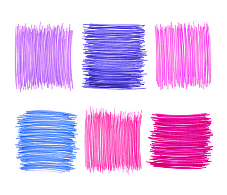 Abstract color drawn elements for design on white background photo