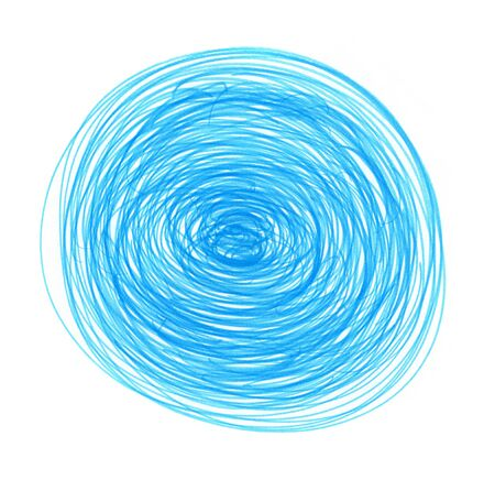 Abstract blue drawn round element for design on white background photo