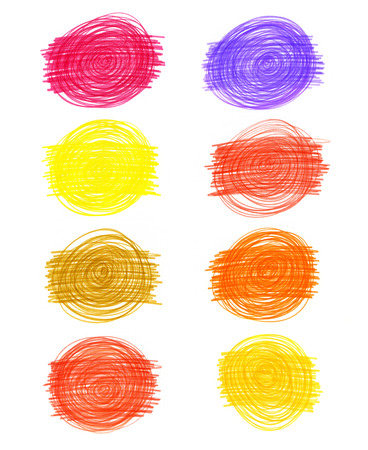Set of abstract color drawn elements on white background for design photo