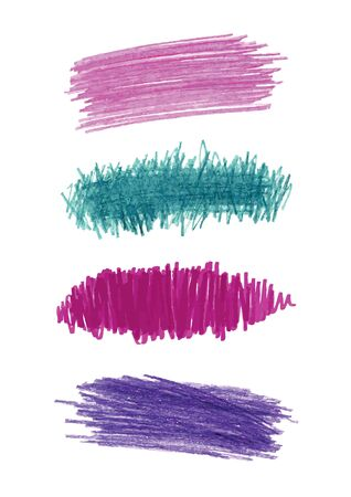 Series of vector color pencil strokes