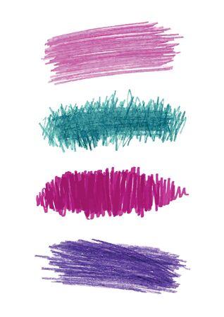 Series of vector color pencil strokes Illustration