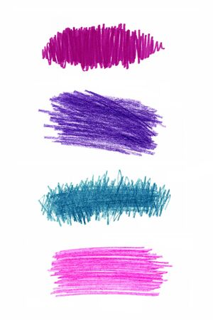 Series of color pencil strokes on white background photo