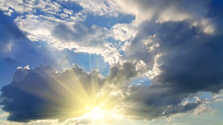bright sky: Sky background with dark clouds and bright sunlight