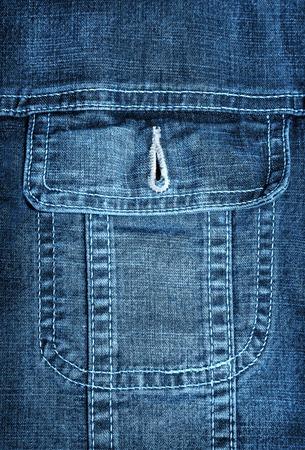 unbutton: Blue jeans jacket pocket closeup