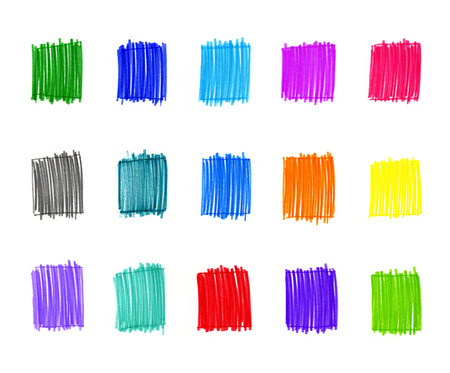 felt tip pen: Set of abstract colorful elements for design Stock Photo