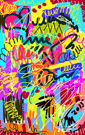 Bright multi-colored untidy background with scrawl and curl Stock Photo