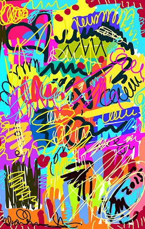 garabatos: Brillante fondo desordenado multicolor con garabatos y el rizo