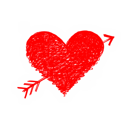 pierced: Drawing of a red heart pierced by an arrow on white Stock Photo