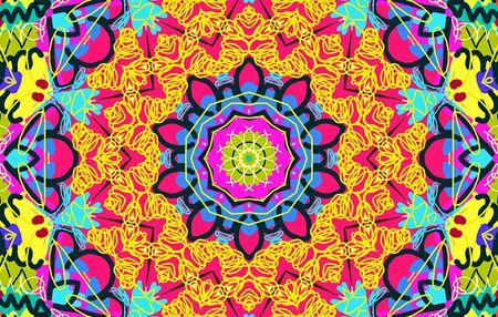 garabatos: patr�n desordenado multicolor brillante con garabatos y el rizo Foto de archivo