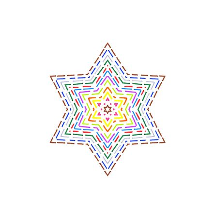 dotted line: Colorful dotted line pattern star on white background