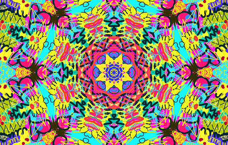 garabatos: Bright multi-colored untidy pattern with scrawl and curl