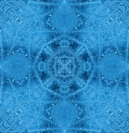 crystallization: Blue background with concentric abstract ice pattern Stock Photo