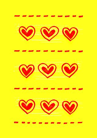 heart abstract: Bright yellow background with abstract red heart pattern