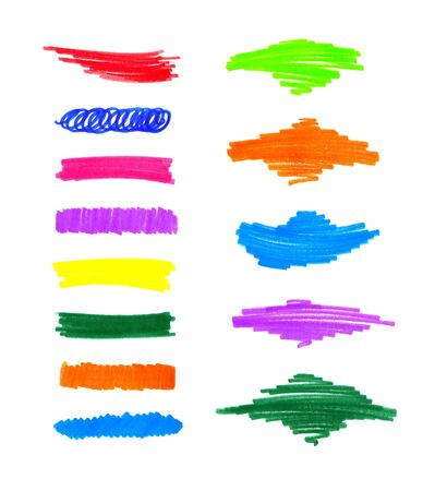 series: Series of abstract colorful hand draw elements for design
