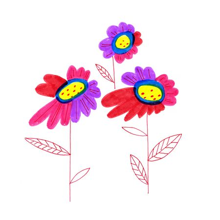 daisy wheel: Decorative bright freehand drawing flowers on white background