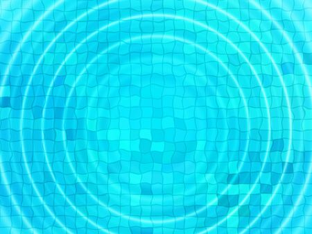water ripple: Bright blue tile background with concentric water ripples
