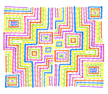 crankle: Abstract colorful rectangular pattern on white background, hand draw
