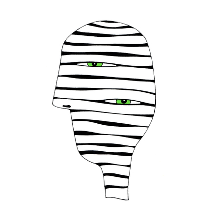 green eyes: Abstract striped head with two green eyes, hand draw