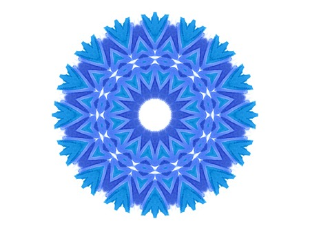 Abstract blue concentric shape isolated on white background