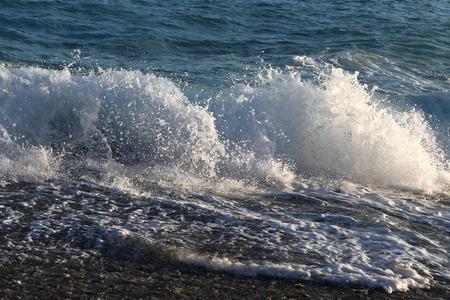 big waves: Big waves and white sea foam on the coast