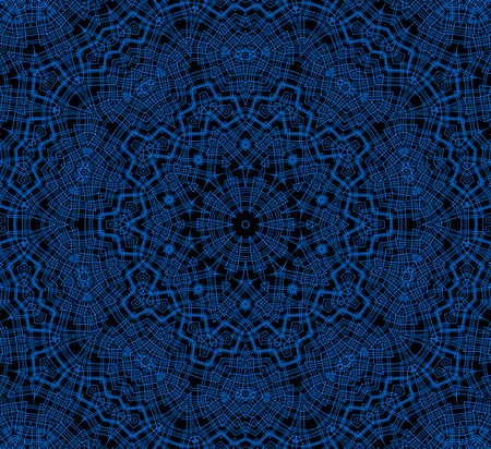 crossing tangle: Abstract blue concentric pattern on black background