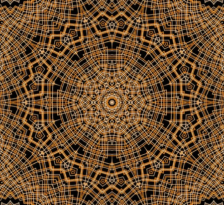 crossing tangle: Abstract orange concentric pattern on black background Stock Photo
