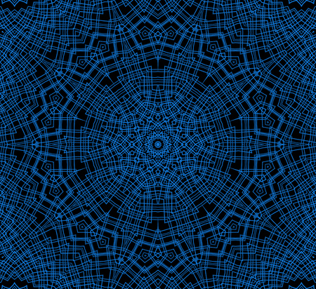Abstract blue concentric pattern on black background