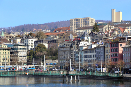 Zurich, Switzerland - 16 March, 2015: Views over Zurich along the Limmat river