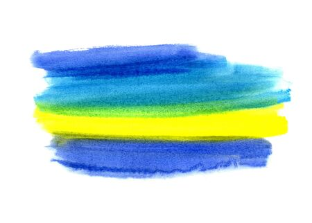 Bright blue and yellow watercolor blot on white background, hand made drawing