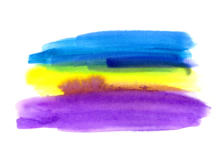 Bright blue, lilac and yellow watercolor blot on white background, hand made drawing