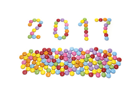 2017 (New Year) from multicolored sweets candy isolated on white background