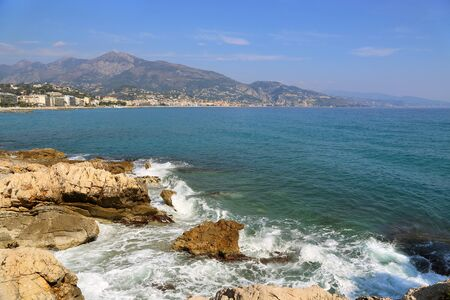 Beautiful sea view of Menton (border town with Italy near Monaco) on French Riviera from Cap Martin, France