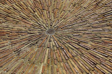 Cobble concentric mosaic. Patterned floor walkway in the park, Montjuic, Barcelona, Spain Stock Photo