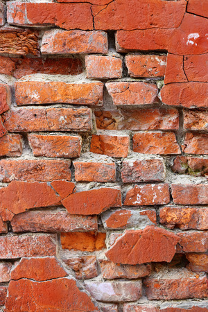 smeary: Close-up of old crumbling brick wall texture