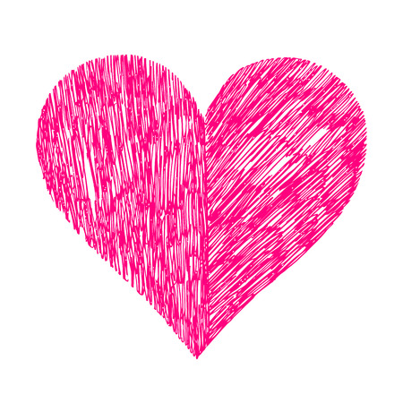crimson: Abstract bright vector heart on white background
