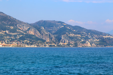 menton: Beautiful sea view of Menton on the French Riviera (Provence-Alpes-Cote dAzur), border of France and Italy