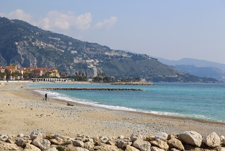 menton: Beautiful sea view of Menton (border town with Italy, near Monaco) on French Riviera, Provence-Alpes-Cote dAzur, France