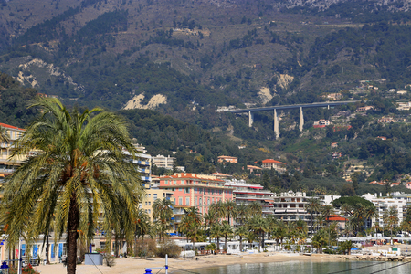 menton: Beautiful view of Menton city, French Riviera, France