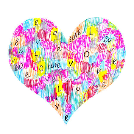 Abstract color heart symbol with Love on white background Stock Photo