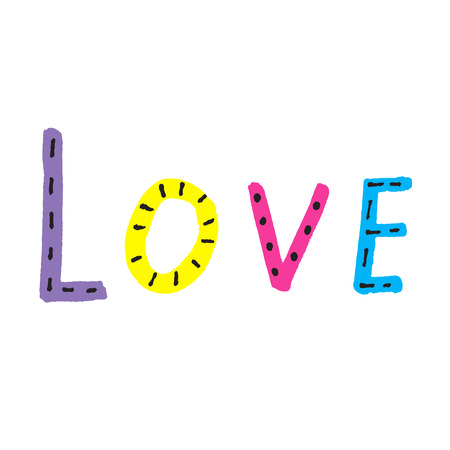 Word LOVE from colorful letters on white background, vector Illustration