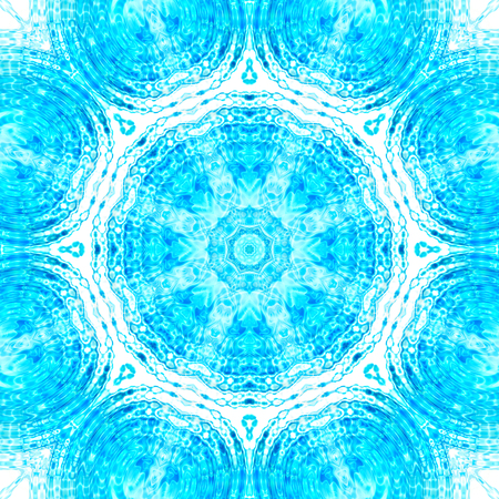 reflection in mirror: Illustration with abstract blue and white concentric pattern