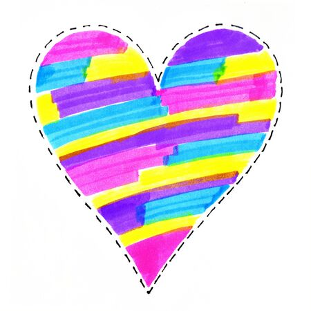 Abstract colorful bright heart symbol on white background, hand drawn