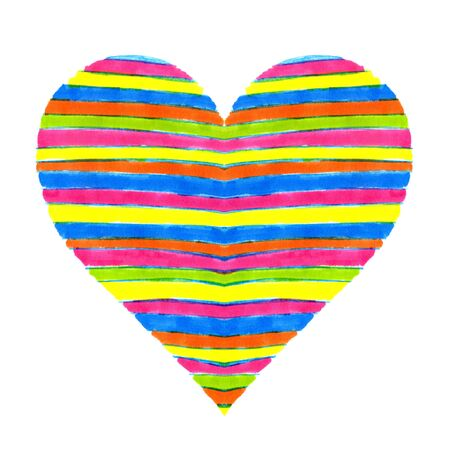 motley: Abstract bright heart symbol on white background, hand drawn Stock Photo