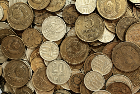 Soviet coins background. Metal money of USSR.