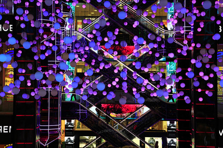 MOSCOW, RUSSIA - DECEMBER 17, 2017: Futuristic design of the atrium in the shopping center European (Evropeisky) in the city centre Editorial
