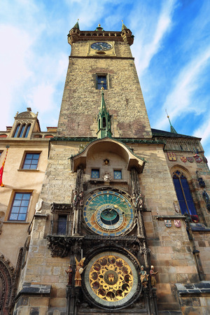 Old Town Hall Tower (Staromestska Radnice) with Astronomical Clock in Prague, Czech Republic