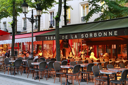 Paris / France - May 09, 2017: The French traditional cafe Tabac de la Sorbonne located on the very touristy Place de la Sorbonne.