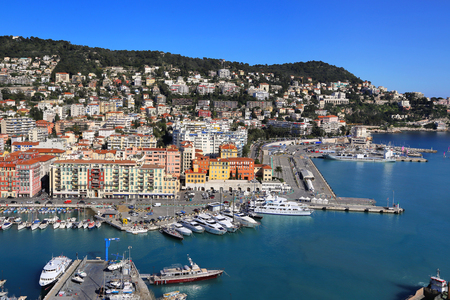 City of Nice in France, beautiful view above Port of Nice on French Riviera Standard-Bild - 110230524